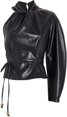 Nanushka Elodia Vegan Leather One-Shoulder Top