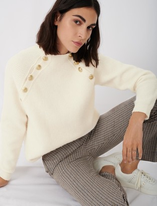 Maje High neck ribbed sweater with buttons