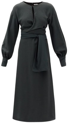 Three Graces London Victoria Draped-waist Crepe Midi Dress - Dark Green