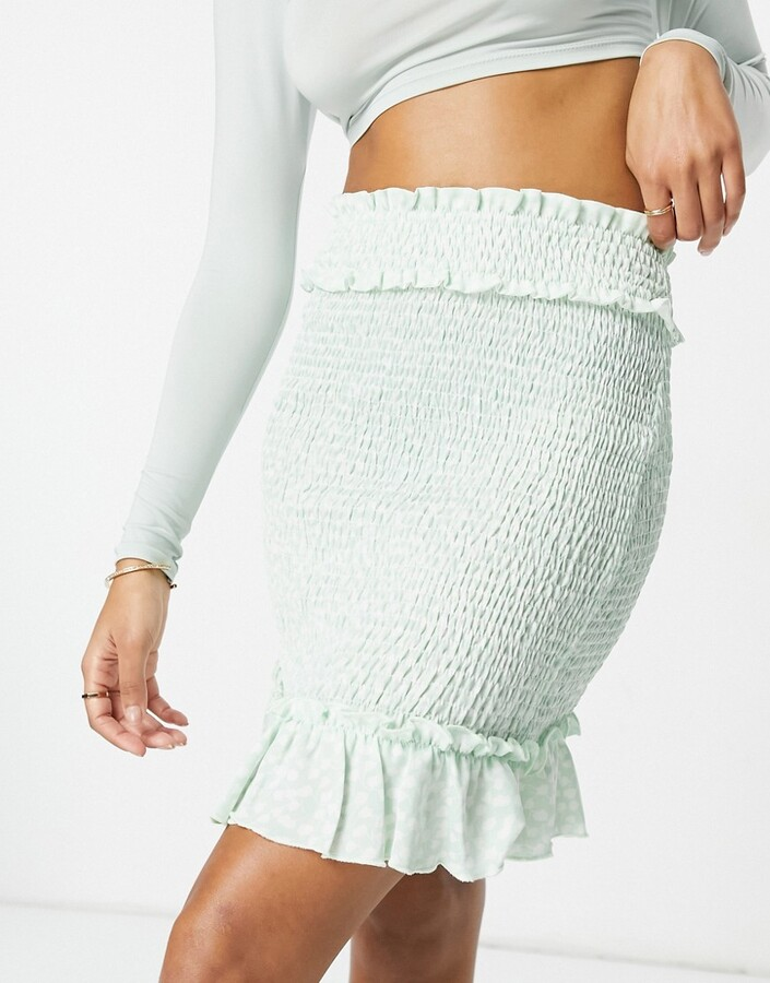 Thumbnail for your product : NA-KD ditsy floral smocked mini skirt in green