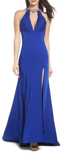 Mac Duggal Jewel Neck Mermaid Gown