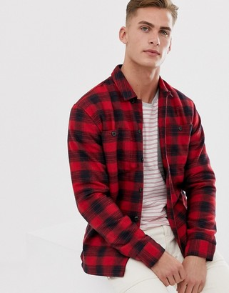 Selected check over shirt in red