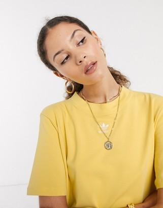 adidas mini logo t-shirt dress in yellow