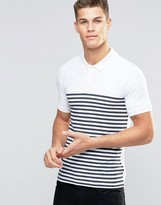 Asos Muscle Polo Shirt With Breton Stripe In White/Navy