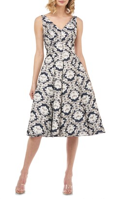 Kay Unger Gia Jacquard Fit & Flare Dress