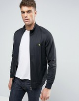 Lyle & Scott Tricot Funnel Jacket Eagle Logo in Black