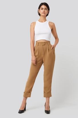 NA-KD Folded Cigarette Suit Pants Beige