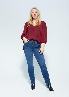 MANGO Violeta BY Elastic sleeve blouse maroon - 10 - Plus sizes