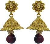 Matra Indian Traditional Goldtone Acrylic Stone Jhumka Earrings Women Wedding Jewelry