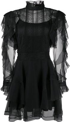 Alberta Ferretti Ruffled Sheer-Panel Mini Dress