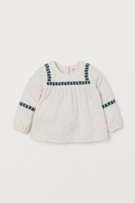 H&M Embroidered Cotton Blouse - White