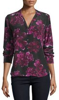 Equipment Adalyn Long-Sleeve Floral-Print Silk Shirt, True Black/Hollyhock