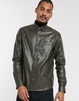 Asos Design DESIGN regular fit faux leather shirt in khaki