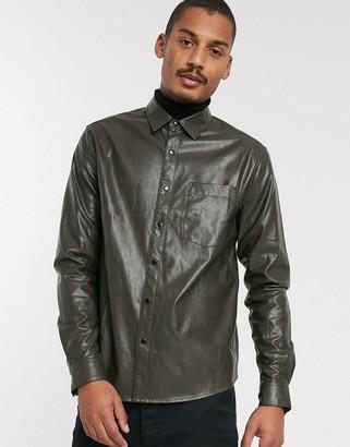 ASOS DESIGN regular fit faux leather shirt in khaki