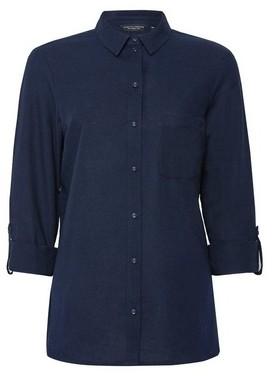 Dorothy Perkins Womens Navy Linen Look Shirt