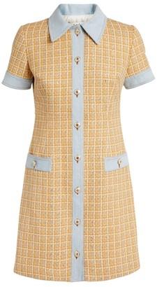 Sandro Paris Tweed Denim Shirt Dress