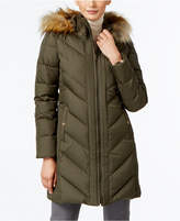 Larry Levine Faux-Fur-Trim Chevron-Quilted Down Coat