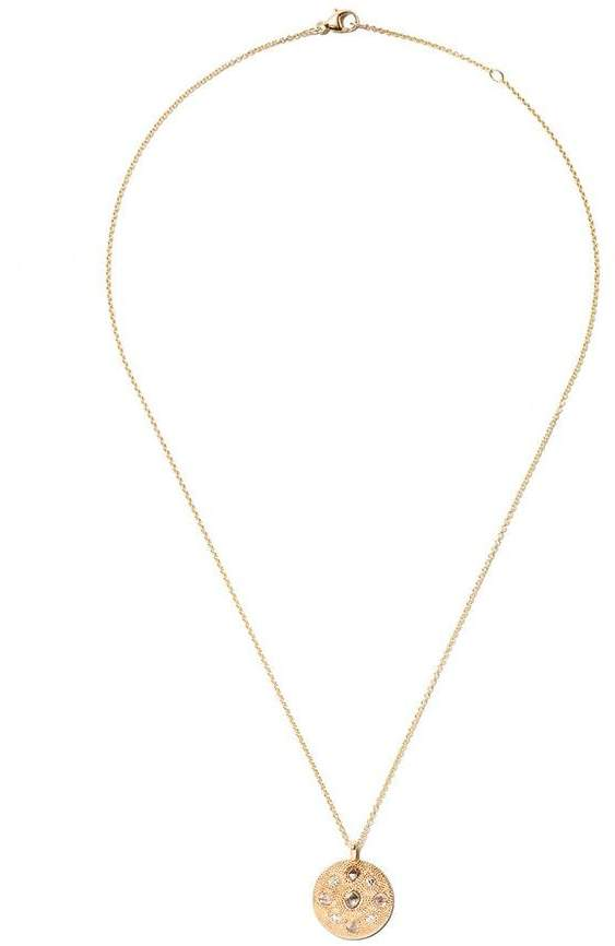 De Beers 18kt yellow gold Talisman Medal diamond small necklace