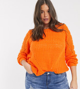 Junarose textured sweater in orange
