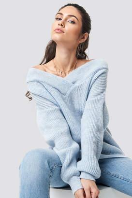 Trendyol Wide V-Neck Glitter Knitted Jumper Anthracit