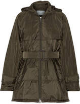 Prada Hooded Quilted Shell Jacket - Army green