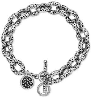 Lois Hill Filigree Link Toggle Bracelet in Sterling Silver