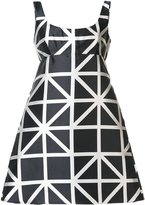Milly flared grid print dress