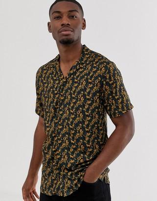Selected short sleeve revere collar animal print shirt in green