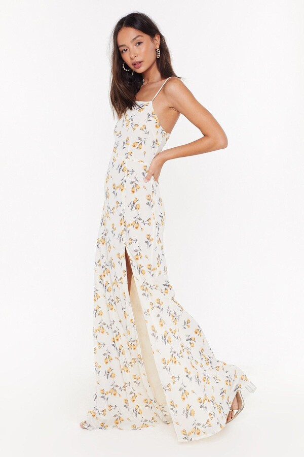 Thumbnail for your product : Nasty Gal Womens Floral Slit Cami Maxi Dress - White - 6