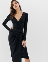 Asos Design DESIGN figure effect wrap midi bodycon dress