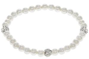 Rhona Sutton Little Star Children's Crystal Pearl Stretch Bracelet in Sterling Silver