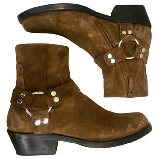 Balenciaga Santiag Harness Beige Suede Boots