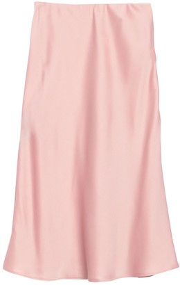 Vanity Room Satin Slip Midi Skirt