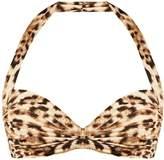 Norma Kamali Bill Bra leopard-print bandeau bikini top