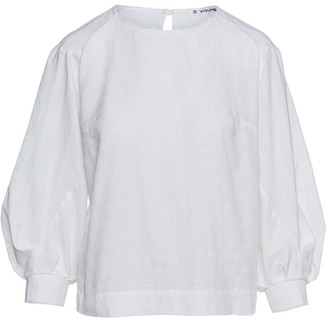 Conquista White Bishop Sleeve Jacquard Top In Sustainable Fabric