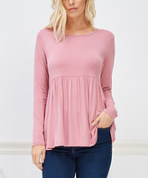Bellino Mauve Empire-Waist Long-Sleeve Top