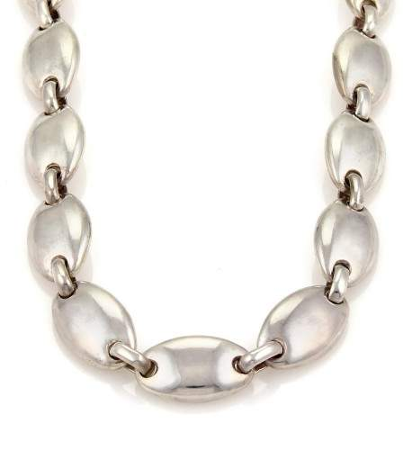 Tiffany & Co. Sterling Silver Solid Oval Link Collar Necklace