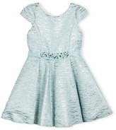 Zoë Ltd Cap-Sleeve Metallic Brocade Fit-and-Flare Dress, Blue, Size 7-16