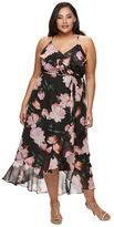 JLO by Jennifer Lopez Plus Size Floral Faux-Wrap Dress