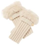 Adrienne Landau Rabbit Fur Trim Fingerless Gloves
