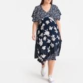 Castaluna Plus Size Patchwork Floral Print Midi Dress