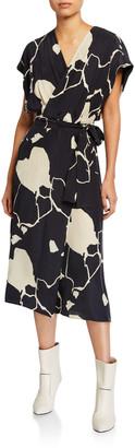 Equipment Bijou Abstract Two-Tone Silk Wrap Dress