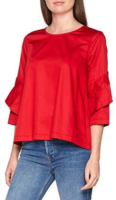 Seidensticker Women's 126111 Regular Fit Crew Neck 3/4 Sleeve Blouse - Red - 8