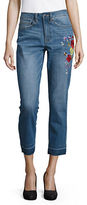 Highline Collective Floral-Embroidered High-Waisted Cropped Jeans