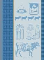 Garnier Thiebaut Garnier Thiebaut, Le Vache et Le Lait Bleu (Cow and Milk, Blue) French Jacquard Kitchen Towel, 100 Percent Cotton, 22 Inches x 30 Inches