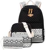 Fezhiou dot Canvas Backpack Cute Lightweight Teen Girls sall School Backpacks 3 set Shoulder Bags black