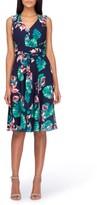 Tahari Petite Women's Palm Fit & Flare Dress