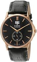 Edox LES BÈMONTS Unisex Watch BIG DATE Dial Analogue Display and Gold Leather 64012 37R Niro