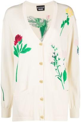 Boutique Moschino Intarsia-Knit Flower Cardigan