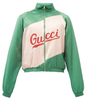 Gucci Logo-embroidered Cotton-blend Satin Bomber Jacket - Green Multi